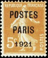 """FRANCE PREOBLITERE TIMBRE STAMP N°27 """"TYPE SEMEUSE, SURCHARGE 5C"""" NEUF (x) TB"""