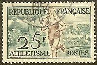 """FRANCE TIMBRE STAMP N°961 """"ATHLETISME"""" OBLITERE TB"""