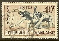 "FRANCE TIMBRE STAMP N°963 ""CANOË"" OBLITERE TB"