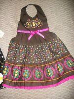 NEW BLUEBERI BOULEVARD HALTER DRESS BROWN & PINK FLOWERS GIRLS SZ 6X