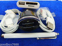 Dual USB Port Car Charger+ 2 Cable for iPad iPhone3G/4GS+camera connection kit,w