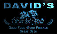 pr1873-b David's Bar & Grill Beer Wine Neon Light Sign