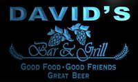 pr1873-b David's Bar & Grill Beer Wine Neon Light Sign
