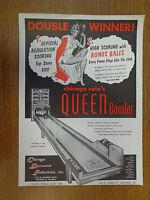 Nice Original Chicago Coin Arcade Flyer Queen Bowler