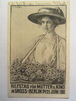 alte Ansichtskarte Festpostkarte Hilfstag Mutter Kind Berlin 1911