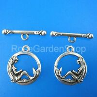 12sets 16mm antiqued silver mermaid toggle clasps G213