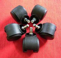 5 Stück Weichboden Bürostuhlrollen Rollen Stuhlrollen 10/50 mm NEU f. Teppich