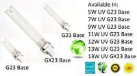 New Premium Ultraviolet UV Bulb Lamp 5W 7W 9W 11W 12W 13W W watt G23 GX23 Base
