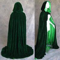 Lined Dk Green Velvet Cloak Cape Wedding Wicca LOTR SCA