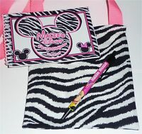 Personalized Disney MICKEY & MINNIE ZEBRA Autograph Book with Matching Bag & Pen