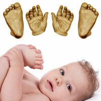 Newborn Baby Gift 3D Plaster Casting Cast Kit hand foot prints Gold Keepsake Set