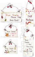 Various Dear Santa Xmas Christmas Metal Wooden Sign Plaque Chic Shabby Vintage