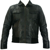 UNICORN Mens Real Leather Bomber Jacket - Brown - S to 4XL #D7