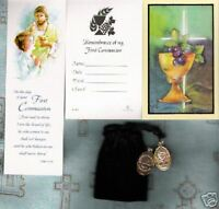 1st Communion Holy Card, Bookmark, Medal,Velour Bag Lot