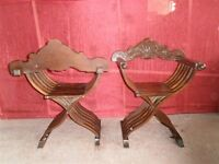 2 ITALIAN ANTIQUE WALNUT CARVED SAVONA ROLA CHAIRS 12IT047C