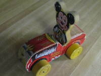 """DISNEY'S 1950's FISHER PRICE #310 WOODEN """"MICKEY MOUSE PUDDLE JUMPER"""" PULL TOY"""