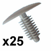 25x Grey Car Panel Trim Clips- 6-7mm hole- 24mm Head