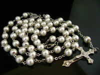 Flower White Glass Pearl Beads Rose Rosary Cross Necklace crucifix catholic