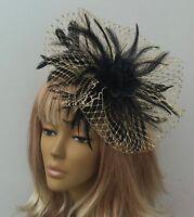 Bespoke Handmade Gold & Black Fascinator Hats Mother Of The Bride/Groom Wedding