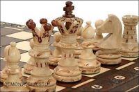 Sehr edles Schachspiel / Schach aus Holz - Handarbeit -klappbares Brett +Figuren