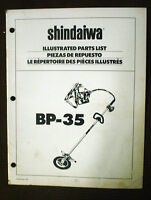 SHINDAIWA ILLUSTRATED PARTS LIST MANUAL BOOK FOR BP-35 BACKPACK TRIMMER