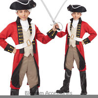 CK602 British Red Coat Colonial Uniform Fancy Dress Up Boys Kids Soldier Costume