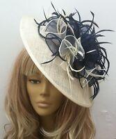 Bespoke Handmade Cream/Navy Hat Fascinator Mother Of The Bride Weddings Races