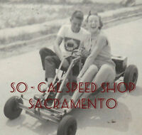 ORIGINAL VINTAGE GO KART PHOTO 1957 GIRL KARTING PHOTO OLD RACING EARLY CART PIC