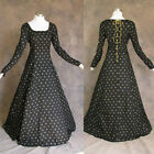 Black Gold Medieval Renaissance Cosplay Gown Dress Costume LOTR Wedding LARP 3X