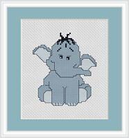 Blue Elephant Cross Stitch Kit By Luca S Ideal Beginner 8 x 10cm