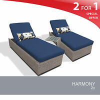 Harmony Chaise Set of 2 Outdoor Wicker Patio Furniture 2 for 1