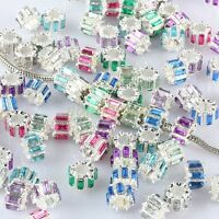 Mixed Color Austrian Crystal Cylinder Column Charms Beads Findings Fit Bracelet