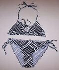 Ladies Black White Stripe Print 2 Piece Bikini Size 10 New