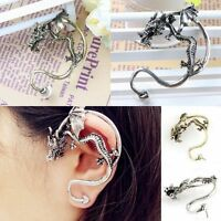 Gothic Punk Rock Bronze/Tibetan Silver Temptation Wrap Fly Dragon Stud Earring