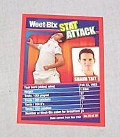 WEETBIX STAT ATTACK CRICKET CARD #25 - SHAUN TAIT