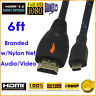 6FT Braided HDMI to HDMI Type D Micro Cable 1.4 w/Nylon Net, 6 FT / 1.83 M