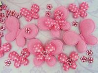 60 Felt/Satin Polka Dot Butterfly+Rhinestone Flower Jewel Applique/bow H308-Pink
