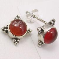 925 Sterling Silver RED CARNELIAN GIRLS' LIGHTWEIGHT Stud Post Earrings 1.2 CM