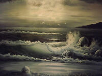 sunset sea ocean wave large oil painting canvas birds seascape black white dark