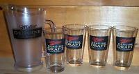 MILLER MGD 4 BEER PINT GLASSES AND PITCHER NEW