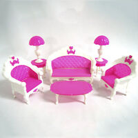 NEW Fashion Lovely Toy Barbie Doll Pink Sofa Chair Desk Lamp Furniture Set DSUK