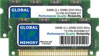64MB (2 x 32MB) 72-POLIG FPM EDO-SODIMM SPEICHER RAM-KIT FÜR LAPTOPS/NOTEBOOKS