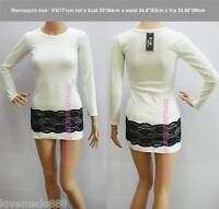 NEW WOMENS KOREA LONG SLEEVE LACE LONG TOP MINI DRESSES