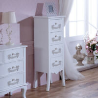 tallboy chest of drawers vintage ornate french chic shabby chic distressed white