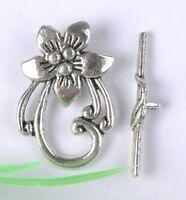 5set tibetan silver flower toggle clasps SH152