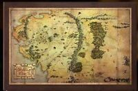 LORD OF THE RINGS HOBBIT AN UNEXPECTED JOURNEY WOOD FRAMED MAP OF MIDDLE EARTH