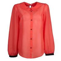 Vintage Blogger ROT KORALLE SCHWARZ Gr.36/38 S/M TRANSPARENT Bluse Tunika Top
