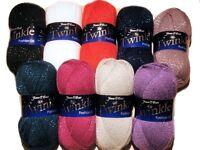 James C Brett Twinkle Glitter DK Double Knitting Machine Washable Wool Yarn 100g