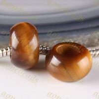 5Pc Tiger Eye Gemstone Big Hole Rondelle GEM Loose Spacer Beads Fit DIY Bracelet