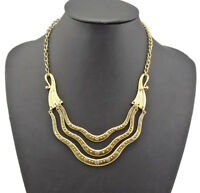 Unique Vintage Style Gold Metal Flower Curved Chunky Bib Collar Necklace